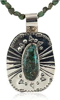 قلادة Native-Bay 500 علامة أسهم معتمدة من النيكل الفضي النافاجو الفيروز 12812-5-16029-14 مصنوعة بواسطة Loma Siiva