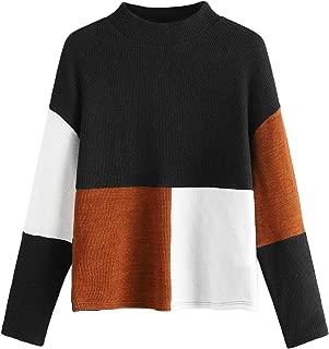 SweatyRocks Women's Long Sleeve Mock Neck Color Block Casual Knit Sweater Pullover