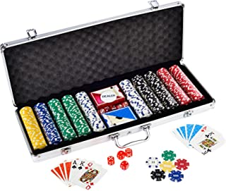 Poker Chips Set by House of Quirk 500 Dice Style Casino Chips with Aluminum Case