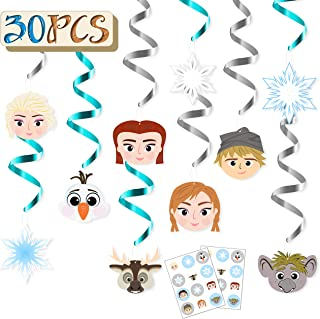 MALLMALL6 30Pcs Frozen Birthday Party Swirls Decorations Elsa Anna Hanging Whirl Streamers Princess Theme Party Supplies Snowflakes Ceiling Swirl Winter Room Decor Snow Queen Stickers Party Favors