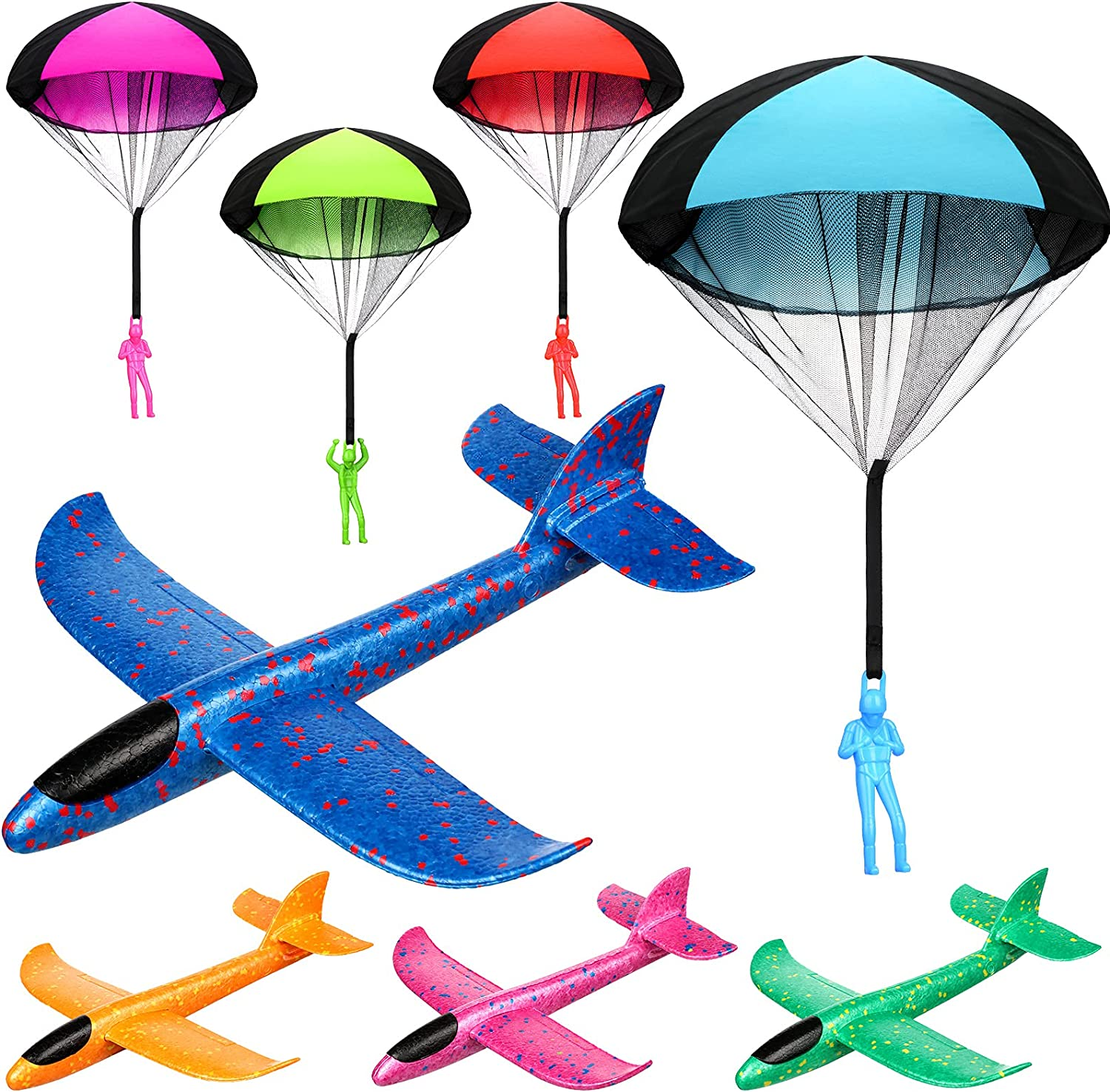 8 Pieces security Throwing Toy 13.8 Inch Industry No. 1 Airplanes and Par Foam 17.7