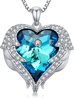 Necklaces for Women with Love Heart Pendant Embellished with Crystal from Swarovski, Gift for Mother, Girlfriend, Daughter, Wife, Aunt, Mothers' Day- Blue Crystal