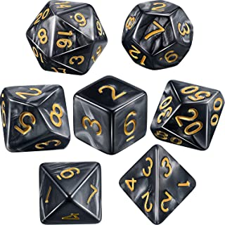 Polyhedral 7-Die Dice Set for Dungeons and Dragons with Black Pouch (Black Gray)