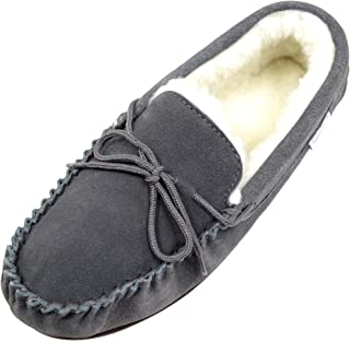 SNUGRUGS Mens Suede Lambswool Moccasin Slippers & Rubber Sole