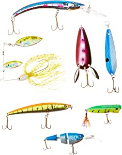Akuna Bulk Pack of 113 Lures with Crankbaits, Spoons and Spinnerbaits