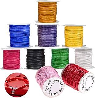 WELLXUNK® Cordons pour Bracelet, Multicolores Fil Coton, Fil Nylon Tressé Cordon, 10 Rolls Nylon Cords pour Bracelet Colli...