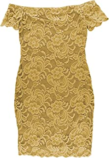 BLBD Women's Off The Shoulder Lace Fitted Dress New Mustard Small