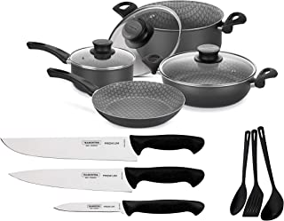 Tramontina 13 Pcs Cookware Set with Professional Knives and Utensils Non-Stick Coating with Starflon Max Resistant +5.000 ...
