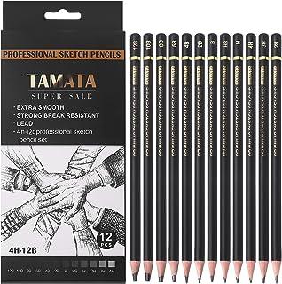 مجموعه مداد طراحی رسم حرفه ای TAMATA - مداد گرافیت نقاشی 12 قطعه (12B - 4H) ، ایده آل برای طراحی هنر ، طراحی ، سایه زدن ، برای مبتدیان