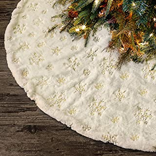 Ivenf Christmas Tree Skirt, 48 inches Luxury Plush Faux Fur with Golden Sequin Snowflake, Rustic Xmas Holiday Decoration, Warm White