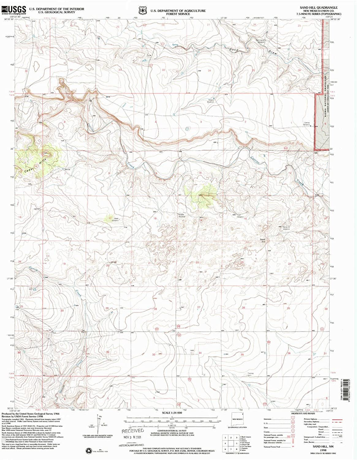 Sand Hill NM topo map, 1 24000 Scale, 7.5 X 7.5 Minute, Historical, 1998, Updated 2001, 27 x 22 in