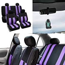 FH Group Striking Striped Seat Covers Airbag & Split Ready w. Free Air Freshener, Purple/Black Color- Fit Most Car, Truck, SUV, or Van