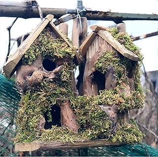 Preservative Wood Bird Houses for Outside Hanging Garden Decor,Birds Nest Box Cage Feeder
