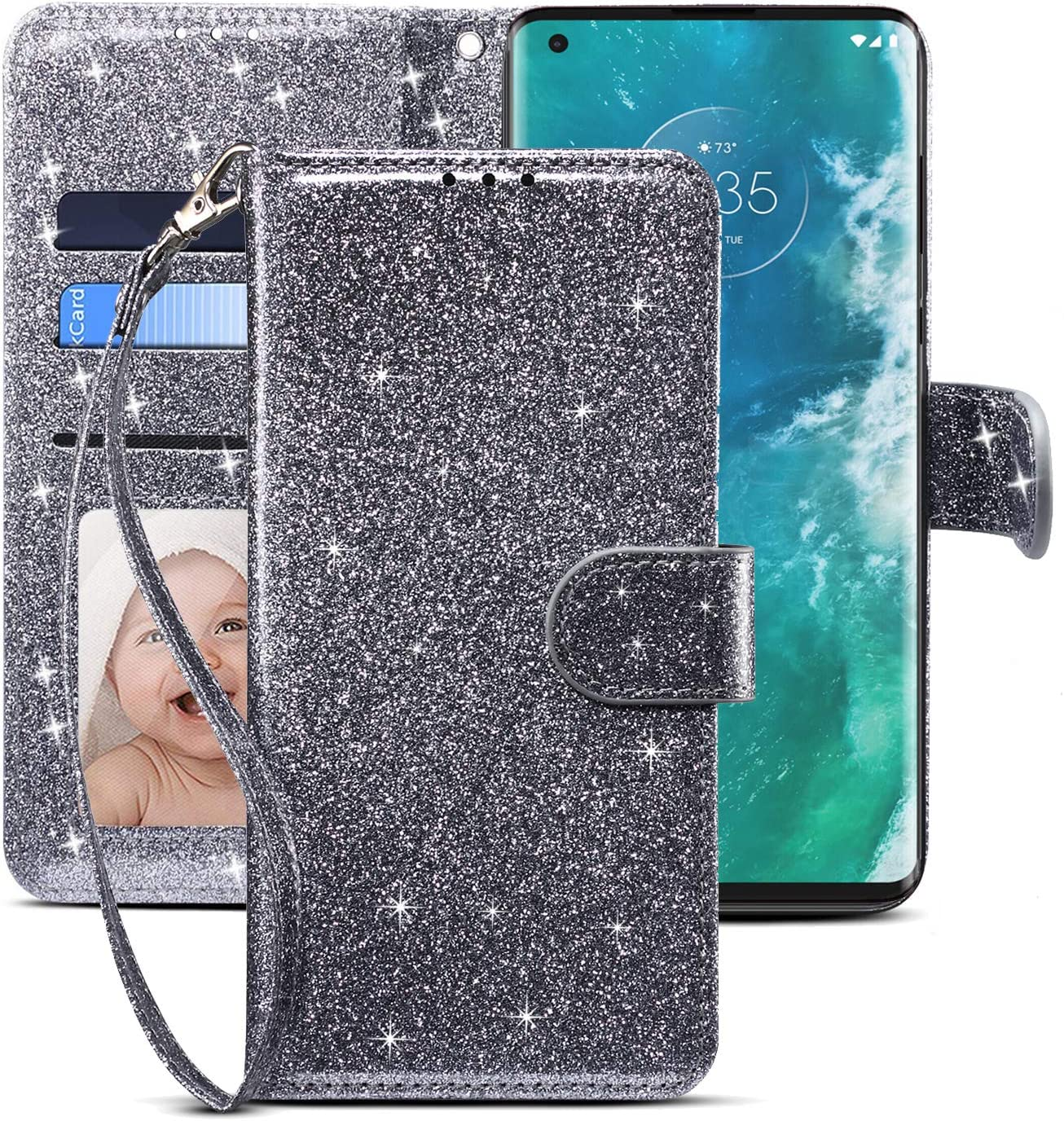CHICASE Case for Moto Edge Plus/Edge+,Folding Flip Glitter Bling Cute Leather Wallet Shockproof Protective Phone Case with Kickstand Card Slots Wrist Strap for Motorola Moto Edge Plus (Gray)