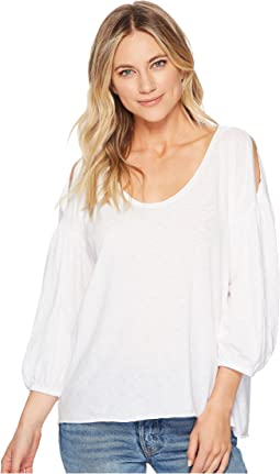 Supima® Cotton Slub 3/4 Puff Sleeve Soft V-Neck