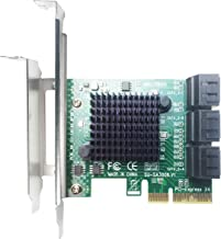 GLOTRENDS PCIe 2.0 X2 to SATA III 6 Ports Adapter Card (ASM Chipset) for IPFS Mining and Adding SATA 3.0 Devices (SA3006)