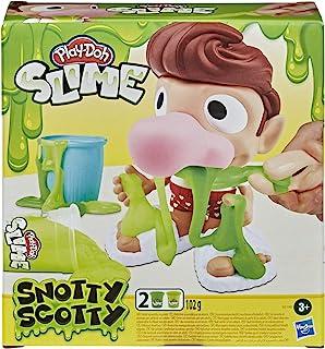 Zestaw z wesołą zabawką Play-Doh Slime Snotty Scotty i 2 pojemnikami z ciastoliną Slime Snot dla dzieci w wieku od 3 lat