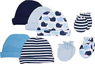 Luvable Friends Unisex Baby Cotton Caps and Scratch Mittens