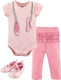 Unisex Baby Cotton Bodysuit, Pant and Shoe Set
