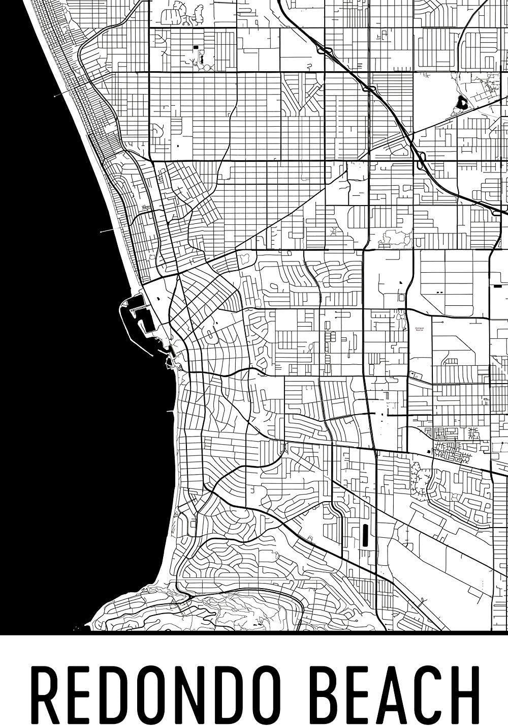 Redondo Beach Map Print California Art Poster