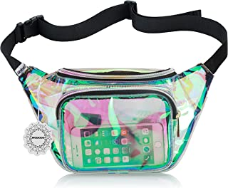 Shiny Neon Fanny Bag for Women Rave Festival Hologram Bum Travel Waist Pack (Clear Iridescent)