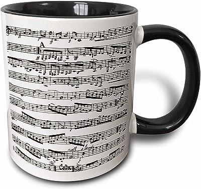 3dローズInspirationzStore音楽アートデザイン–Musical Notes–ヴィンテージ音楽シート–ブラックandホワイトピアノ表記–ピアニストとMusicianギフト–マグカップ 15-oz Two-Tone Black Mug mug_112825_9