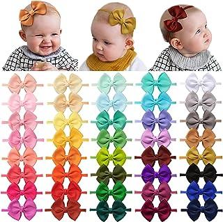 40 Pieces Baby Girls Headbands Nylon Hairband Grosgrain Ribbon Hair Bows Handmade Hair Accessories for Newborn Infant Todd...