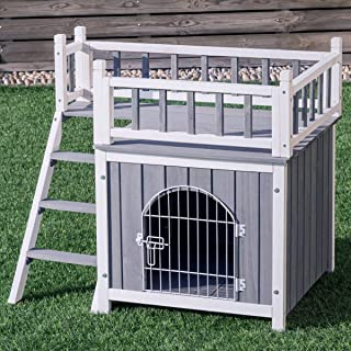 Tangkula Pet Dog House, Wooden Outdoor & Indoor Dog/Cat Puppy House Room with a View, Pet Room with Stairs, Raised Roof and Balcony Bed, Wooden Dog House (M/L)