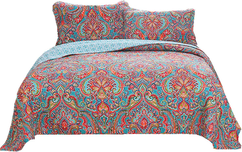 Newrara Jacquard Style Cotton 3 Bedspread Qui Gorgeous Patchwork Boho famous Pcs