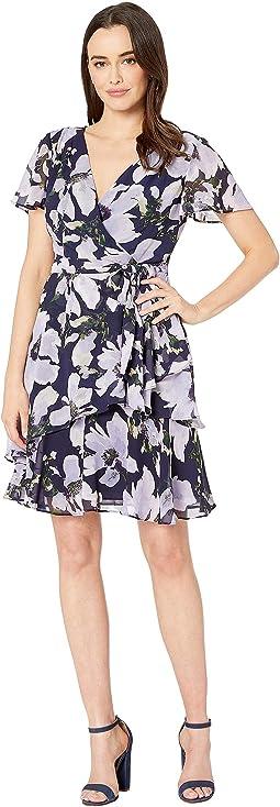 Short Sleeve Side Tie Printed Chiffon Dress