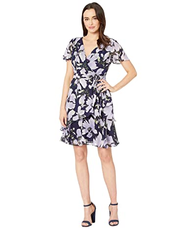 Tahari by ASL Short Sleeve Side Tie Printed Chiffon Dress (Lavender/Navy Floral) Women