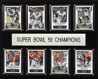 """C&I Collectables NFL Denver Broncos Super Bowl 50-8-Card Plaque Frame, 12"""" x 15"""", Brown"""