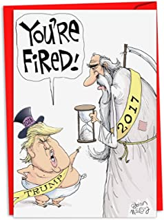 P-XSJumb-Trump NobleWorks JUMBO Trump/Christmas 贺卡 Single Trump Fires Year C2481NYG