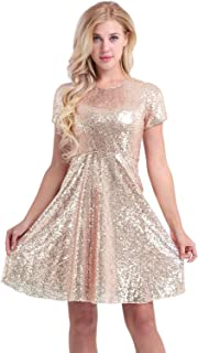 Women Sequined Cocktail Party Short Sleeve Bridesmaid A Line Skater Dress