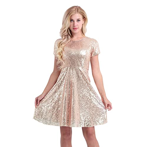 e3b506d071 YiZYiF Women s Sequin Cocktail Party Short Sleeve Bridesmaid Skater Dress