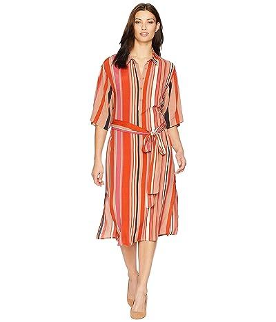American Rose Aria Collared Wrap Dress (Blood Orange/Multi) Women