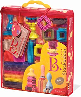 B. toys - Bristle Blocks Stackadoos – 68 Toy Blocks in a Storage Pouch – STEM Toys Building Blocks for Kids 2 years +