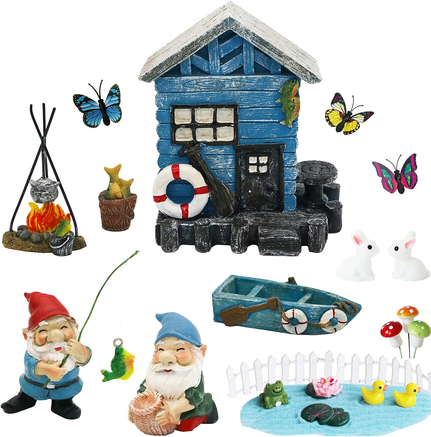 Miniature Gnome Fairy Garden Decoration – Fairy Garden Accessories Kit Decor Outdoor Small Gnome Figurines Statue Supplier Fairy House Yard Lawn Ornaments Birthday Gifts Girls Boys Adults