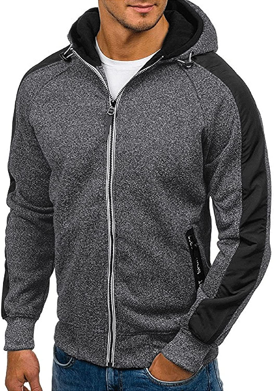 XXBR Zipper Hoodies for Mens, Long Sleeve Color Block Hooded Sweatshirts Fall Drawstring Slim Fit Jackets with Hood