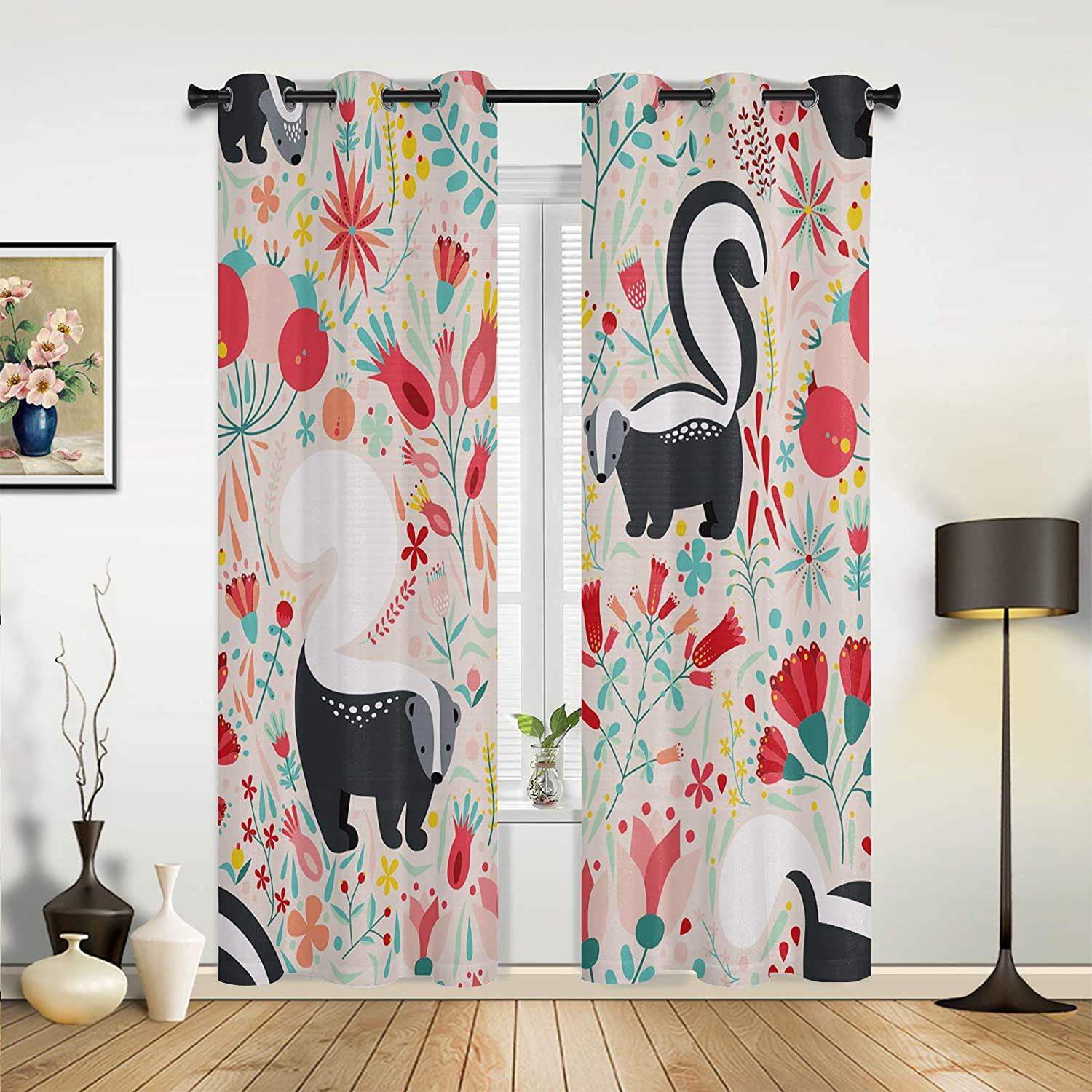 Window Curtains Popular brand in the world Drapes Panels Funny Skunk Pink Spring Flowers 5 popular