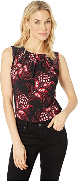 Printed Bead Neck Knit Top
