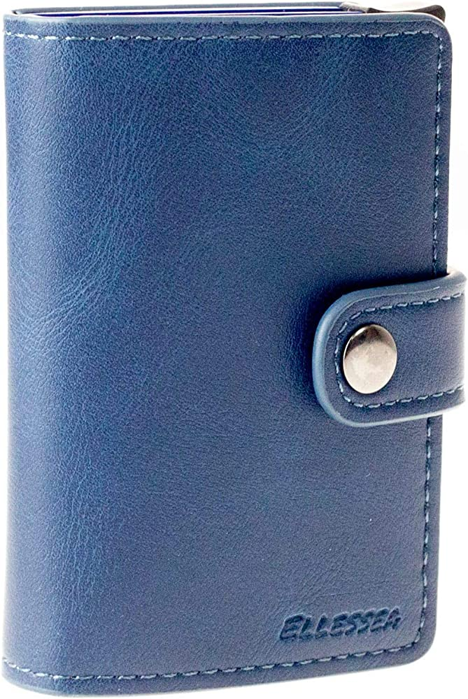 Ellessea, porta carte di credito - portafoglio - porta documenti - anti frode - blocco rfid, in pelle, blu