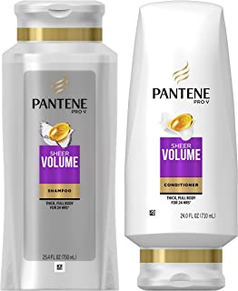 Pantene, Shampoo and Sulfate Free Conditioner Kit, Pro-V Sheer Volume for Fine Hair, 25.4 oz and 24 oz, Kit