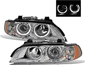 AmeriLite Projector Headlights Halo Chrome Amber Reflector for BMW 5 Series E39 - Passenger and Driver Side