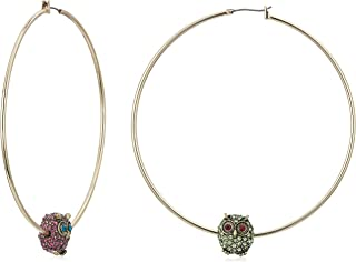 Betsey Johnson (GBG) Women's Fuchsia and Green Pave Owl Mismatched Hoop Earrings, Multi, One Size