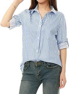 Women's Vertical Stripes Button Down Roll-up Long Sleeves Lapel Collar Shirt