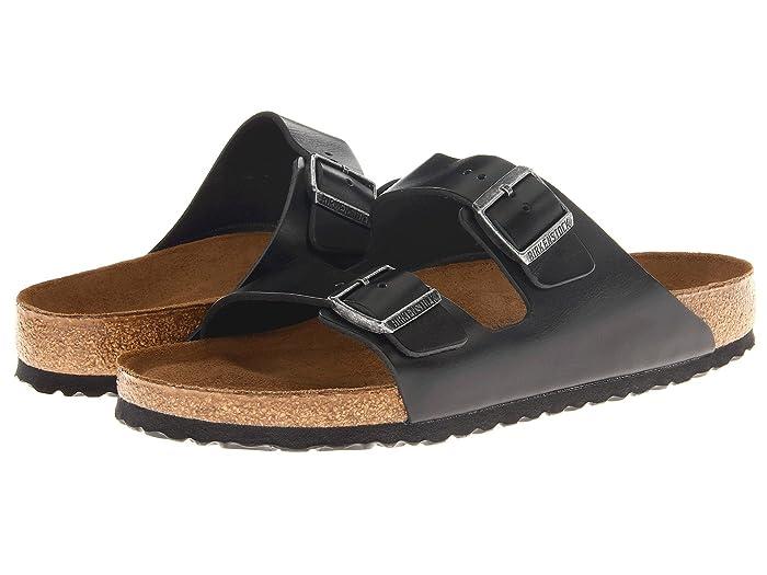 Birkenstock  Arizona Soft Footbed - Leather (Unisex) (Black Amalfi Leather) Sandals