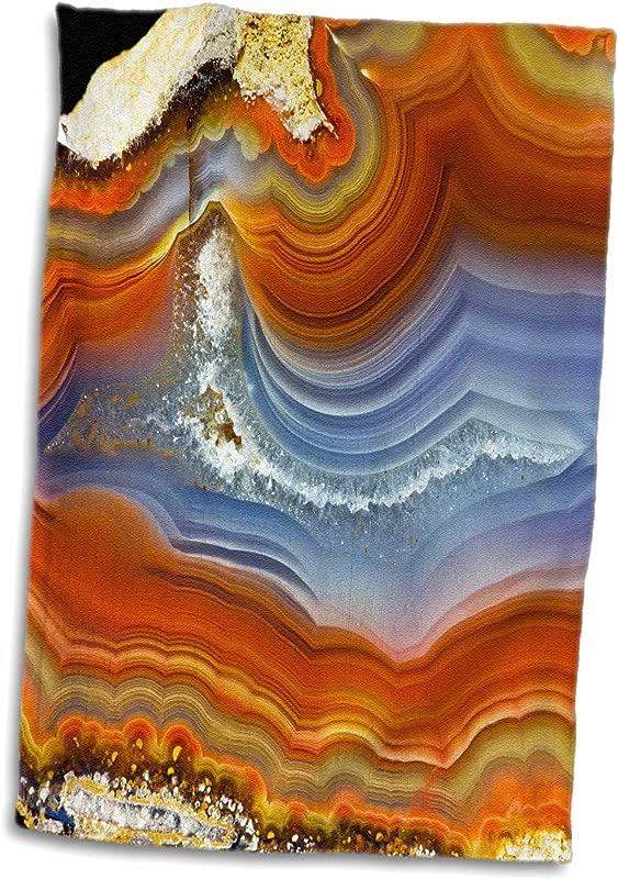 3D Rose Banded Agate Quartzsite Hand Towel 15 X 22 Orange Blue