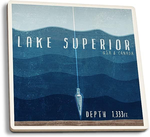 Lake Superior Wisconsin Lake Essentials Lake Depth Set Of 4 Ceramic Coasters Cork Backed Absorbent