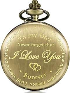 Hicarer Dad Present from Daughter to Father Engraved Pocket Watch - No Matter How Much Time Passes, I Will Always Be Your Little Girl (Bronze)
